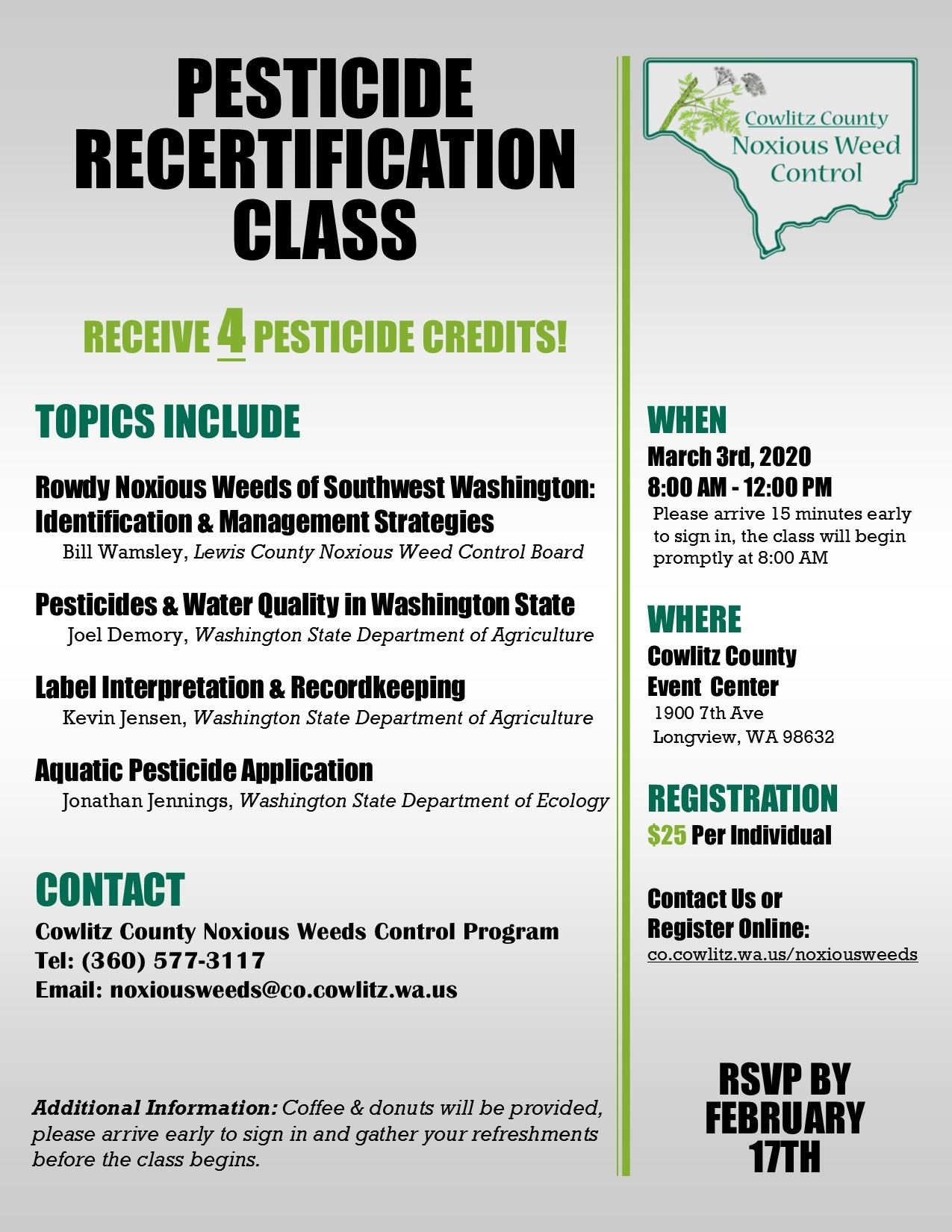 2020 Pesticide Recertification Flyer
