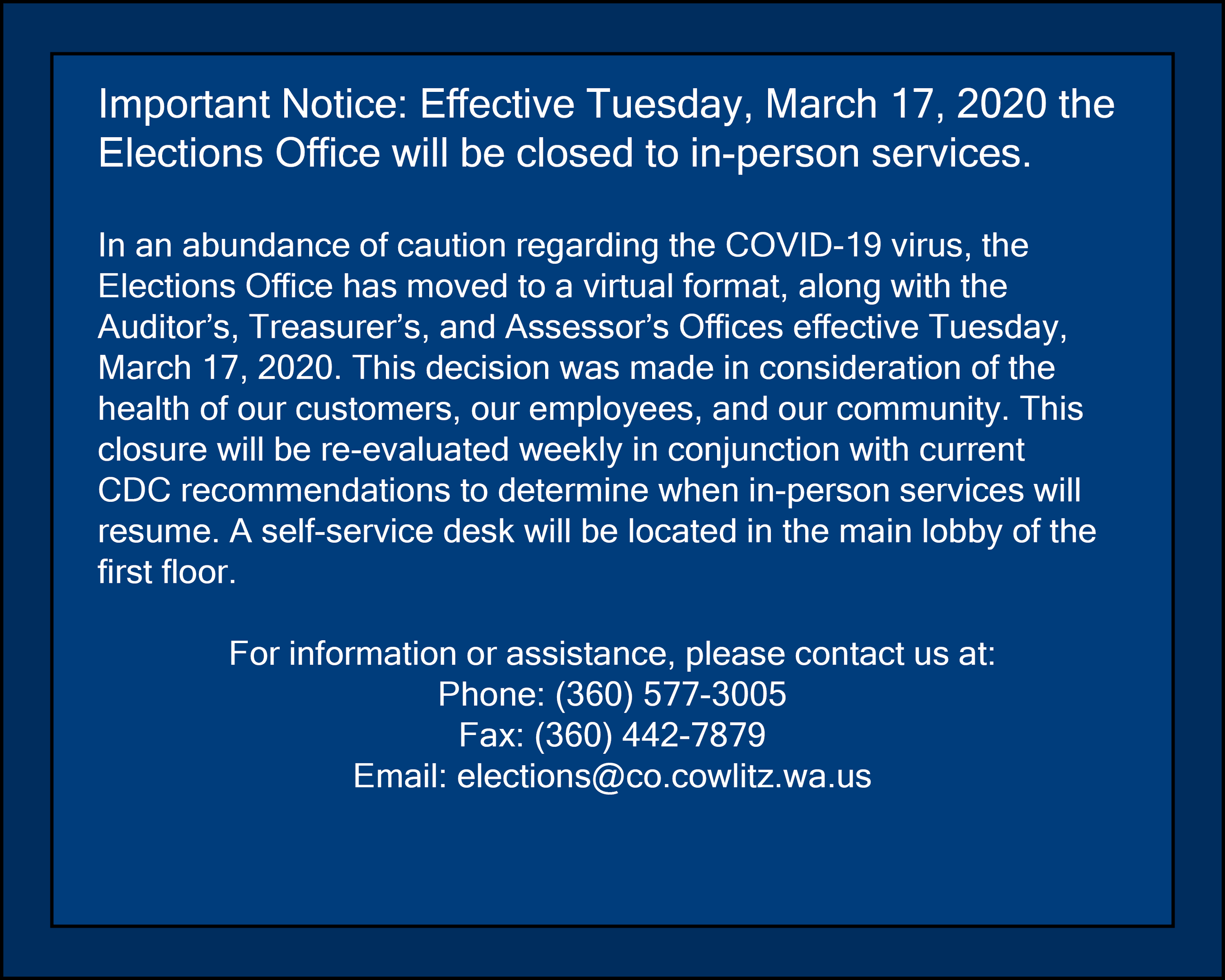 Notice on blue background stating in-person elections service is suspended