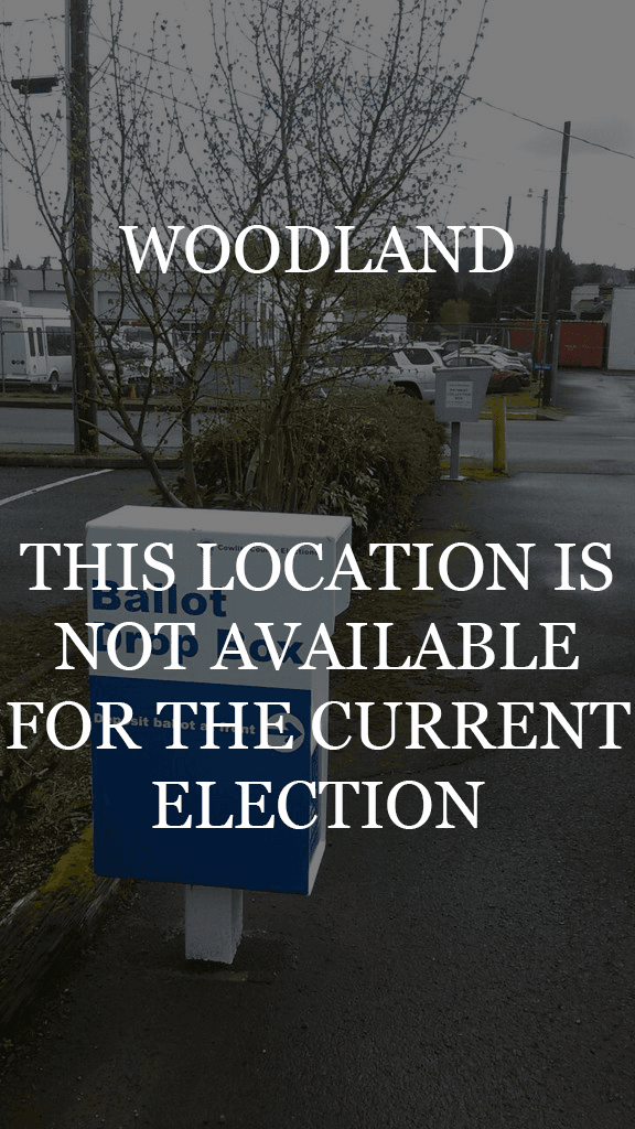 Woodland ballot box with closed for election notice